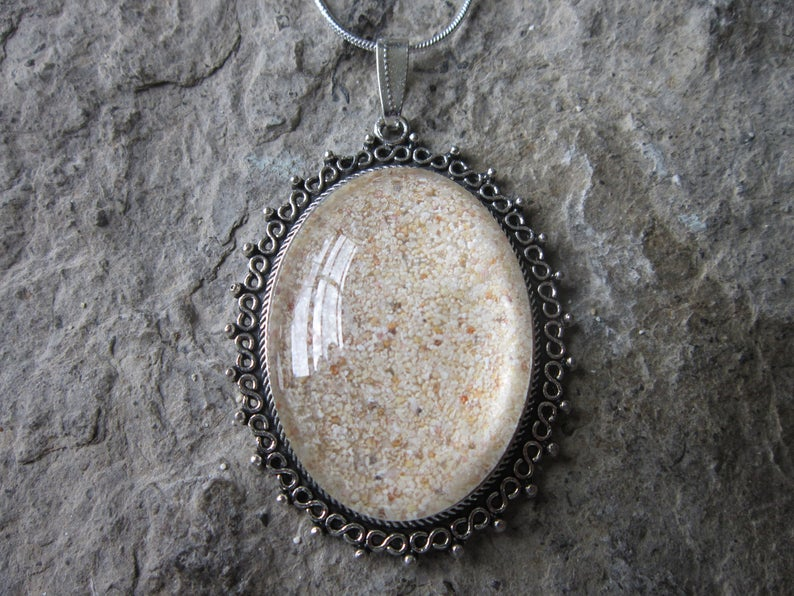 Beach Sand Glass Cabochon Necklace