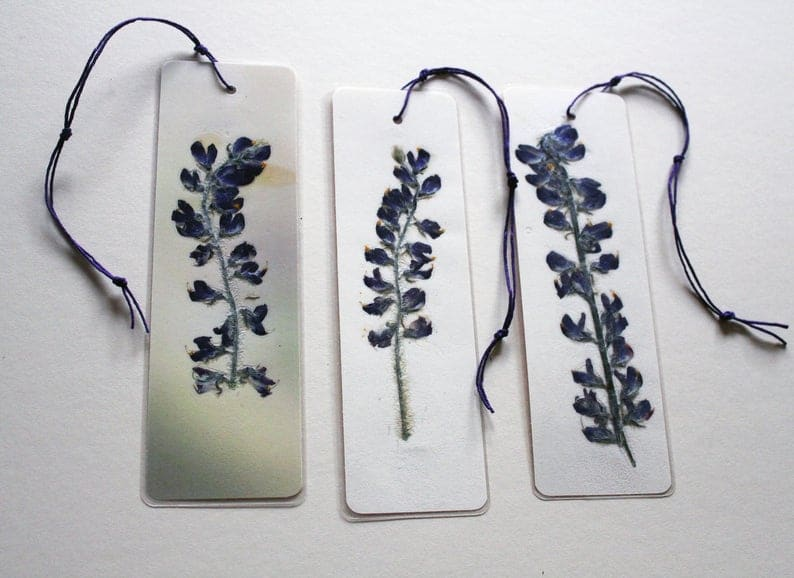 Wild Lupine pressed flower bookmark